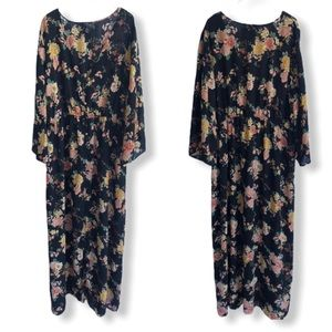 Boho Sheer Button Floral Chiffon Maxi Dress